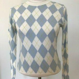 Burberry Argyle Women's 100% Cotton Sweater Sz S/M